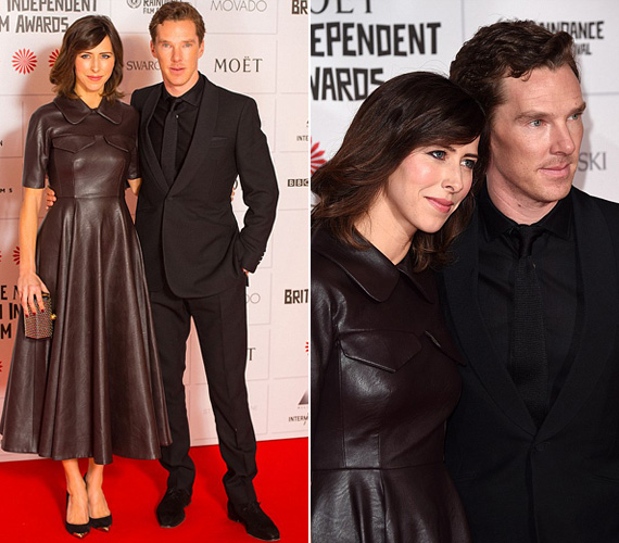 Benedict Cumberbatch menyasszonya, Sophie Hunter társaságában tette tiszteletét a független filmes gálán. Míg a Sherlockkal ismertté vált 38 éves színész feketébe öltözött, addig párja egy csokoládébarna, klasszikus szabású bőrruha mellett tette le a voksát.