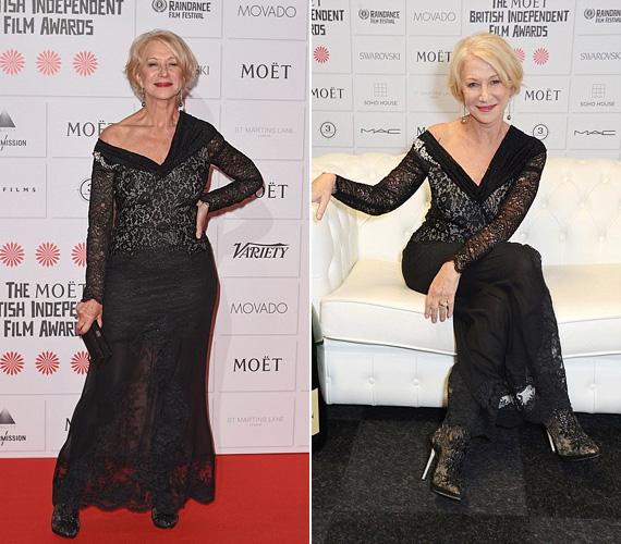Helen Mirren elképesztően nézett ki fekete csipkeruhájában, amely merészen látni engedte a lábait, mégsem volt közönséges. A 69 éves színésznő lett egyébként nemrég a L'Oréal arca, már első reklámfilmjét is leforgatta a világhírű márkával.