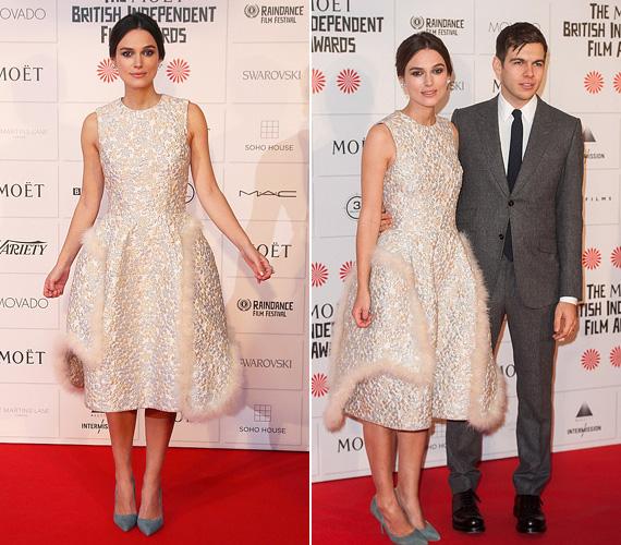Keira Knightley is ott volt a díjkiosztón férjével, James Rightonnal, a 28 éves színésznő egy káprázatos, szőrmével díszített hófehér ruhát húzott a vasárnapi gálára.