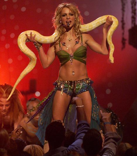 Kígyóval a vállán  2001-ben szintén fellépett a rangos zenei rendezvényen, ahol egy extravagáns műsorral lepte meg a közönséget. Az I'm a Slave 4 You című dalt a vállán egy több mint két méteres albínó pitonnal adta elő, ami a gála felejthetetlen pillanata volt.