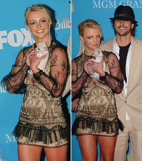 Kevin Federline-nal  Britney Spears a 2004-es Billboard Music Awards vörös szőnyegén, ahol boldogan pózolt új szerelmével, Kevin Federline-nal. A sármos táncossal három hónap járás után jegyezték el egymást, majd szeptemberben össze is házasodtak.  Kapcsolódó cikk: Ájultan esett össze! Kórházba kellett vinni Britney Spears exférjét »