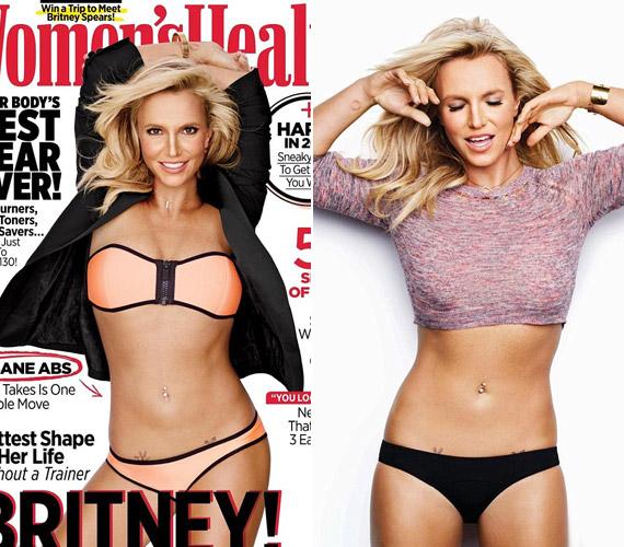A legutóbbi címlapfotóján elég nehéz ráismerni Britney Spearsre. Az újság egyébként azt hirdeti, egyetlen mozdulattal olyan lapos hasat lehet csinálni, mint az énekesnőé, akinek állítása szerint még trénere sincs, otthon edz magában.