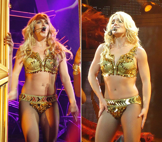 Az arany bikini Beyoncét idézi, a neccharisnya pedig Lady GaGa mániáinak egyike - az énekesnő összelopkodta kolléganői legsikeresebb szettjeit.