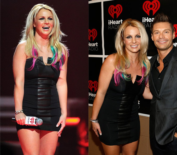 Ryan Seacrest volt a partnere az est folyamán, aki Twitter-bejegyzése szerint csodálkozott, hogyan tudta Britney beleerőltetni magát ebbe a szűk ruhába.