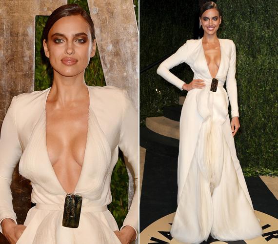 Az orosz modell, Irina Shayk sem vívott ki elismerést földig érő, de köldökig dekoltált estélyi ruhájával.