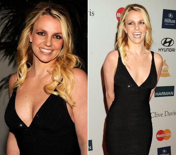 Britney Spears mindenkit elbűvölt mélyen dekoltált, fekete miniruhájában a Grammy-gála előtt rendezett exkluzív partin.