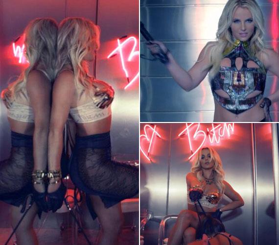 Az erotikától túlfűtött klipben az énekesnő kezébe még korbács is került.