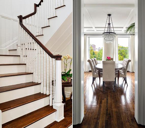 A lakás padlózatát sötét parketta borítja, mely otthonosságot és némi rusztikus ízt kölcsönöz a lakásnak.