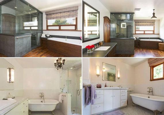 Ahogy a hálószobákat, úgy a fürdőhelyiségeket is más-más stílusban rendezték be.