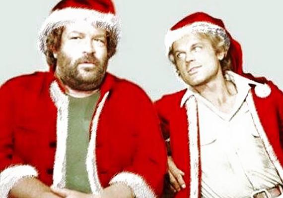 Nyilván Photoshoppal készült ez az alkotás, de Bud Spencer nagy kedvence lett, szinte minden karácsonykor megosztja.