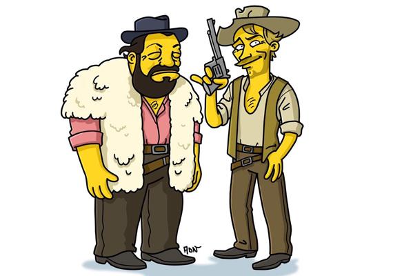 """A Simpson család alkotóit is megihlette a két spagettiwesternhős, ezt a """"simpsonizált"""" verziót készítették róluk."""