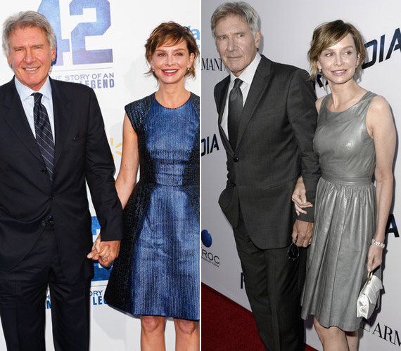 Férjével, Harrison Forddal harmonikus a kapcsolatuk.