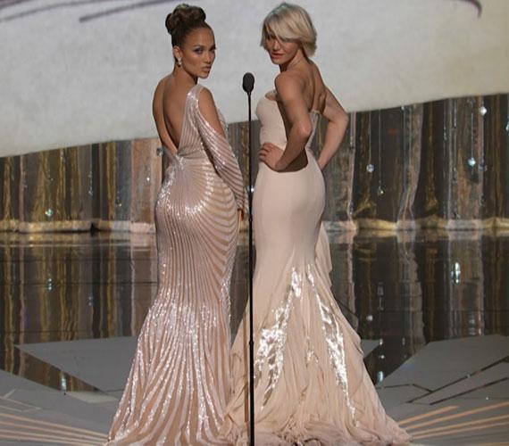 A 2012-es Oscar-gálán a szintén sokak által irigyelt hátsójú Jennifer Lopezzel mérték össze becses testrészüket.