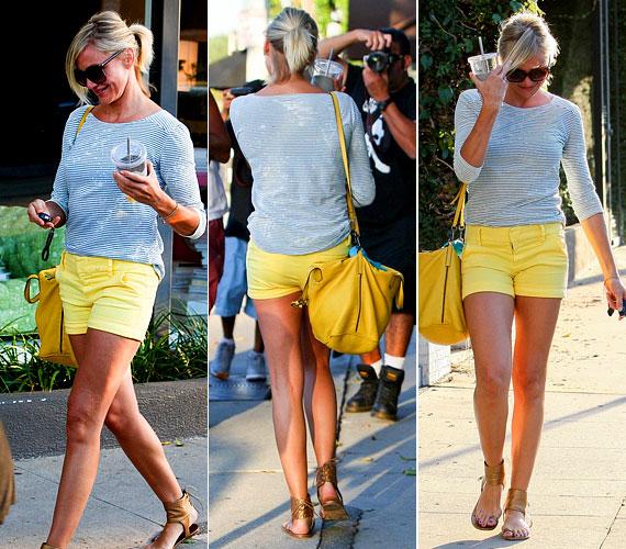 Nemrég egy dögös, sárga minisortban is lekapták a fotósok, szintén Hollywoodban: ugyanazt a sárga táskát viselte, mint a vacsorához.