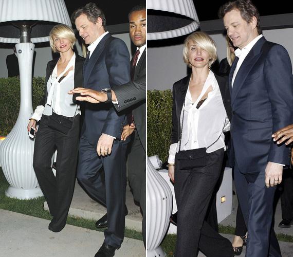 Cameron Diaz pillantása és zilált öltözete mindent elárul. Az ittas színésznőt Colin Firth-nek kellett támogatnia kifelé menet, mert már menni sem tudott egyedül.