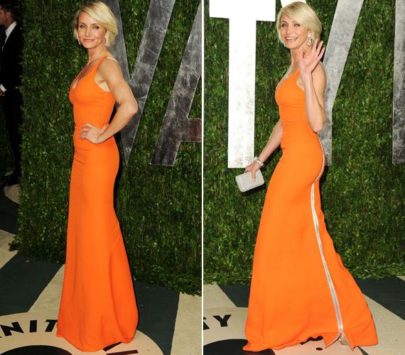 Az utóbbin Victoria Beckham 2012-es tavaszi kollekciójából viselt egy testhez simuló, hosszú, narancsszínű estélyit.