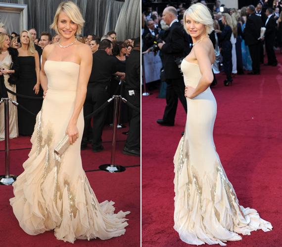 Az Oscar-gálára egy pasztellszínű, alul fodrokkal és csillogó kristályokkal díszített Gucci ruhában érkezett.