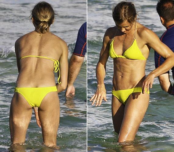 Cameron elölről-hátulról is megmutatta magát, tény, hogy falatnyi sárga bikinijében úgy fest, mint egy modell vagy élsportoló.