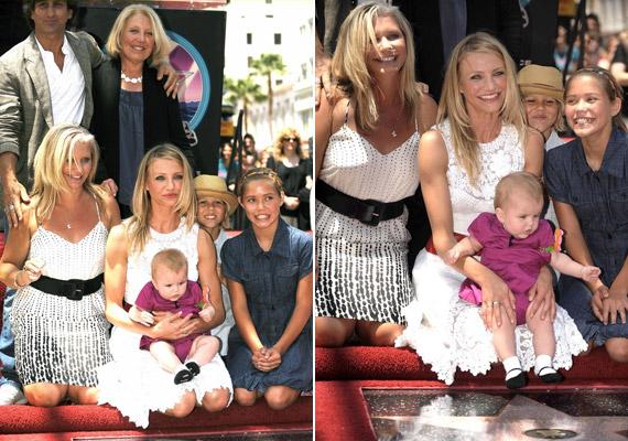 Amikor 2008-ban Cameron is csillagot kapott a Hírességek sétányán, az egész család vele ünnepelt - nővérei gyerekei is vidáman mosolyognak a kamerába.