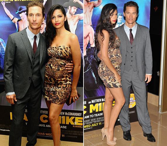 Matthew McConaughey új filmje, a Magic Mike londoni premierjére Camila Alves egy testhezálló, leopárdmintás miniruhába bújt.