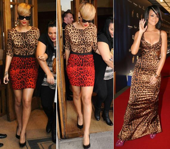 Rihanna szintén szívesen öltözik vadmacskának. Élénk darabokkal gondoskodik arról, hogy mindenképpen észrevegyék.