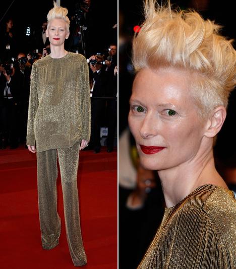 Tilda Swinton                         A nem éppen szépségéről híres színésznő a cannes-i filmfesztiválon sem erőltette meg magát. Több kritikus is megjegyezte, olyan, mintha pizsamában érkezett volna.