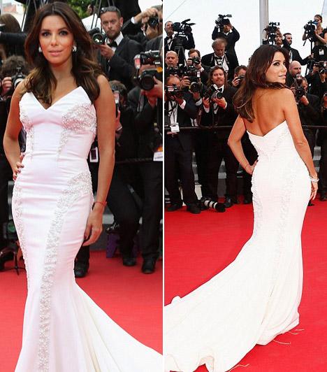 Eva Longoria                         A Született feleségek sztárja kedveli a sellőfazonú ruhákat, így Cannes-ba is egy fehér, ilyen szabású Gabriela Cadena darabot választott. Mivel ruhája gyöngyökkel díszített, így már nem vett fel hivalkodó ékszereket.