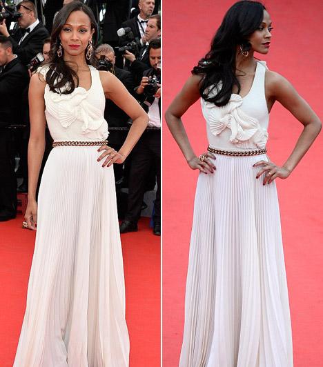 Zoe Saldana  A színésznő a nyitó estre egy fehér Victoria Beckham-ruhában érkezett.