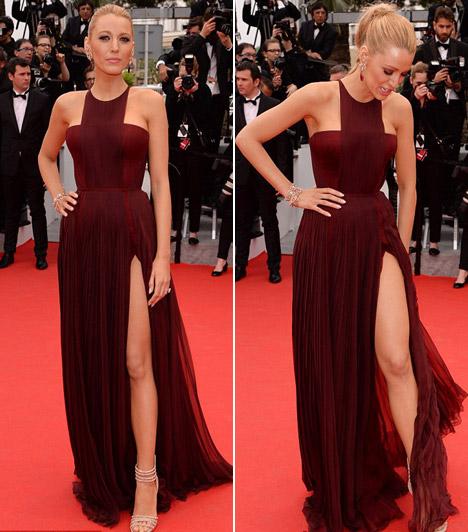 Blake Lively  A 26 éves színésznő a L'Oréal arcaként vett részt a cannes-i fesztiválon, melyre egy merészen felvágott Gucci-ruhát vett fel.