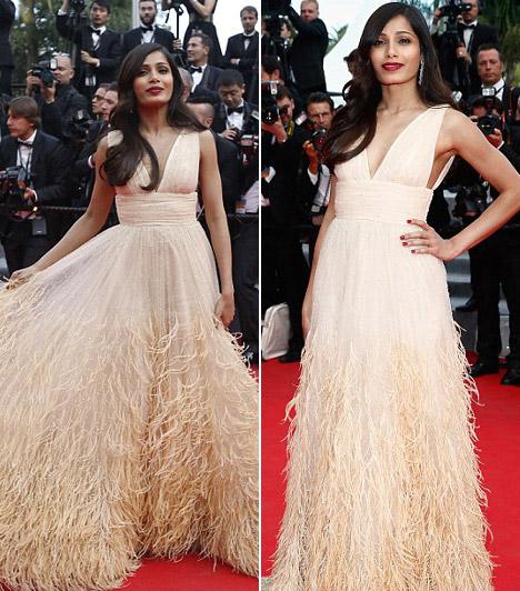 Freida Pinto                         Bár az utóbbi két év elég csendes volt filmek terén a színésznőnek, Cannes-ban mindenkit lenyűgözöttextravagáns Michael Kors ruhájában.
