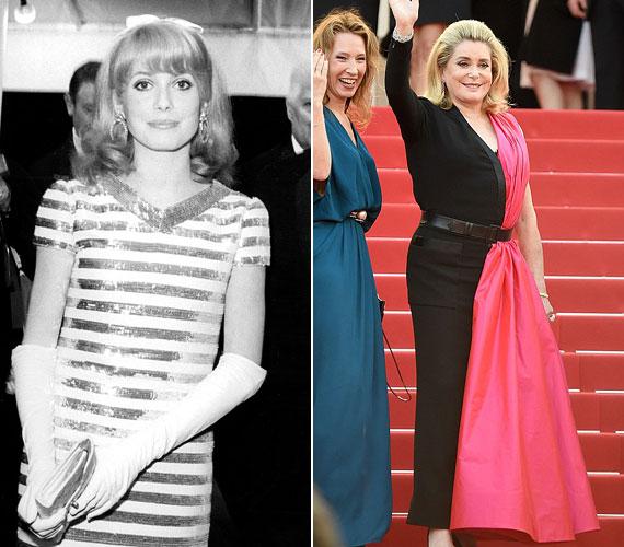 Catherine Deneuve 1966-ban, 23 évesen jelent meg először a cannes-i filmfesztiválon - mint a francia újhullám egyik csinos és tehetséges képviselője. A 71 éves színésznő tegnap is uralta a vörös szőnyeget, melyen egy elég különös szabású ruhában jelent meg. A hibrid, félig estélyi, félig szmoking dresszt Jean-Paul Gaultier tervezte.