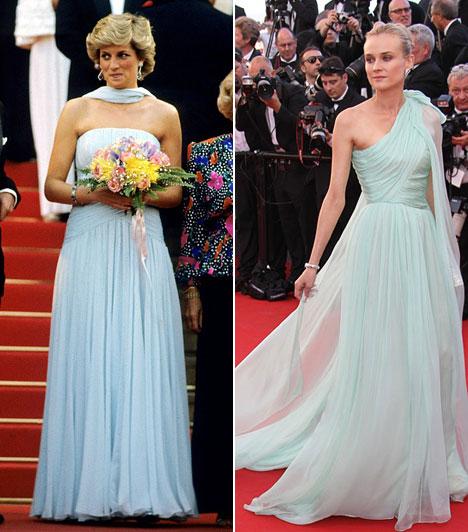 Kékben  Diana hercegnő 1987-ben látogatott el a filmfesztiválra Károly herceggel, és mindenkit elbűvölt Catherine Walker sifonruhájában. Hasonlóan szép volt 2004-ben Diane Krüger is, aki a Trója premierjét tette emlékezetessé Chanel estélyijében.