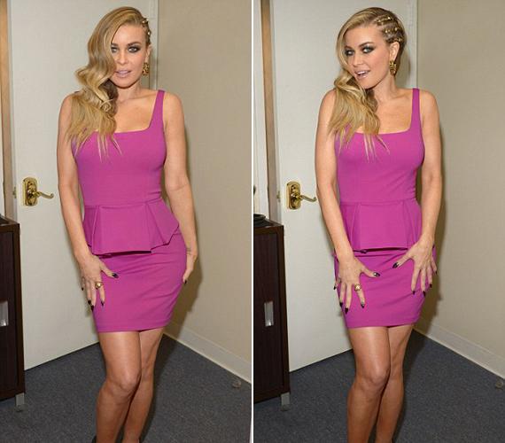 Az amerikai talkshow beszélgetős részében ezt a lila peplumruhát viselte.