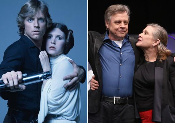 A Luke Skywalkert alakító Mark Hamill-lel régen és most. A Star Wars kék szemű szépfiújával sem bánt kegyesen az idő.