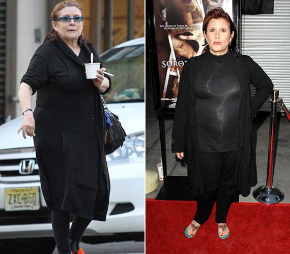 Carrie Fischer igazi jojó-királynő: 2011 nyarára például több mint 20 kilótól szabadult meg, tavaly májusra viszont ismét kikerekedett. Ha nem a vörös szőnyegen van fellépése, leginkább egy kövérkés, idős asszonyra hasonlít.