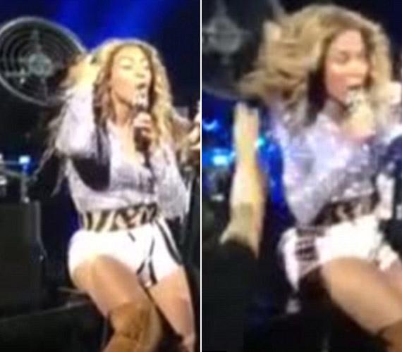 Beyoncé is került már kínos szituációba. Ő a szélgéppel került közelebbi kapcsolatba, amikor az bekapta a haját koncert közben.