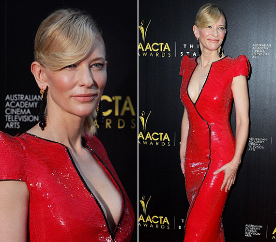 Cate Blanchett nem fogta vissza magát, piros ruhájával és mély dekoltázsával egyértelműen ő volt az est szépe. A darab egyébként Armani 2009-es tavaszi kollekciójából való.