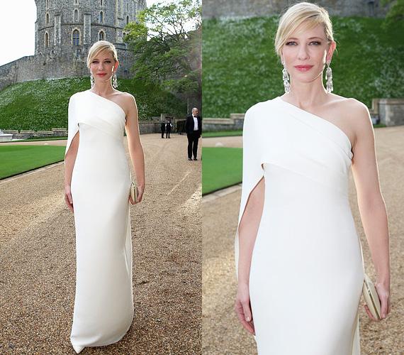 Cate Blanchett fehér ruhájában olyan volt, mint egy égi tünemény. Aszimmetrikus vállú selyem estélyi ruhája Ralph Lauren AW14-es kollekciójának egyik darabja, melyet Ralph Lauren órával és gyémánt fülbevalóval egészített ki.
