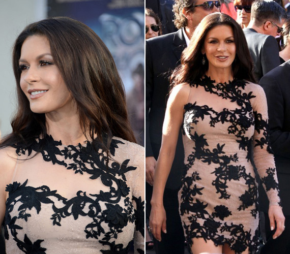 A testszínű Zuhair Murad ruha a fekete, tekergőző virágcsipkével figyelemfelkeltő darab volt. Sokak szerint első pillantásra akár Jennifer Lopez is lehetett volna sötét hajjal.
