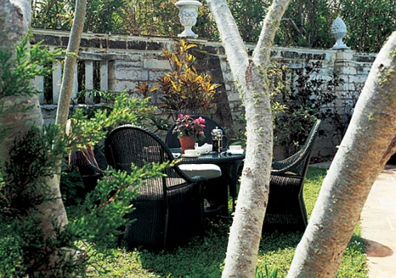 A kert is természetes kialakítású, árnyas és kellemes, Catherine az Architectural Digest magazinnak azt is elárulta, hogy ez a kedvenc reggelizőhelyük.