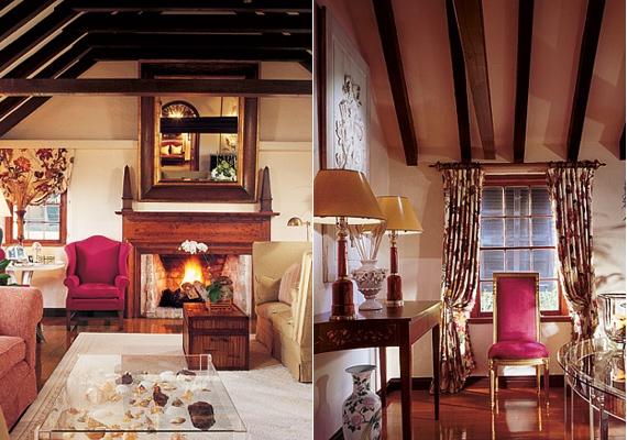 Catherine Zeta-Jones angol stílusúra kérte a nappali kialakítását, melyben akár 14 vendég is kényelmesen helyet tud foglalni.