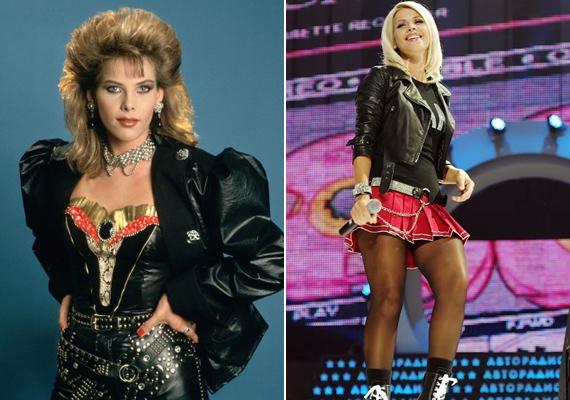 Szinte hihetetlen, hogy 20 év eltelt a két kép készítése között, mintha az énekesnő egy napot sem öregedett volna. Meglepő, de a második fotó sem diáklánykorában, hanem 2011-ben készült, moszkvai koncertjén.