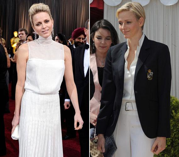 A rövid hajviselethez választott öltönyszerű ruha sem keltett nőies hatást.