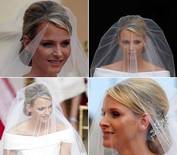 Az esküvőn leheletnyi könnyedségű hatalmas fátylat is viselt, díszes hajékét pedig sógornője, Caroline hercegnő adta kölcsön neki.