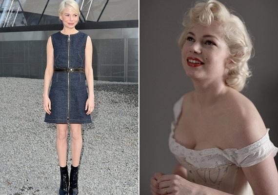 A fiús alkatú Michelle Williams is majdnemtíz kilót szedett fel, amikor a legendás szexszimbólum, Marilyn Monroe bőrébe bújt.