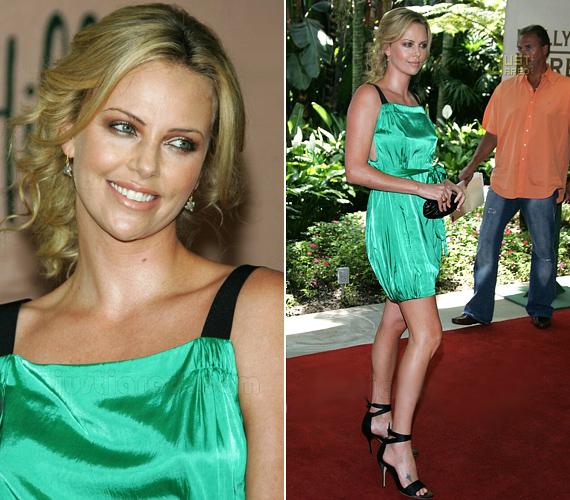 A színésznő nem először viseli a zöldnek ezt az árnyalatát, a Hollywood Foreign Press Association Installation díszebédre is hasonló ruhában érkezett.