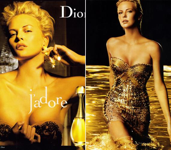Charlize szépségére a Dior divatcég is felfigyelt, épp a napokban jelentek meg a J'adore parfüm új, aranyszínben játszó kampányfotói.
