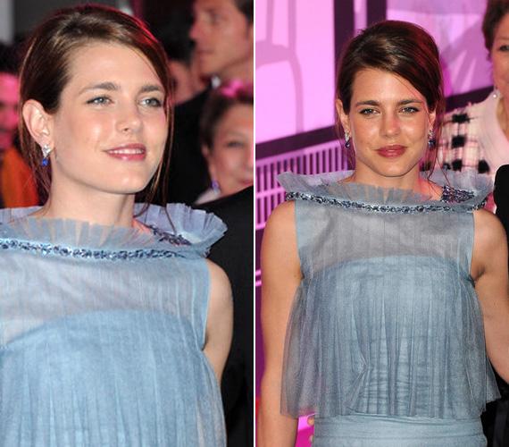 Smink- és ékszerválasztása továbbra is visszafogott, választékos stílusról árulkodik: az egyszerű, kék ékköves fülbevaló jól illett ruhájához.