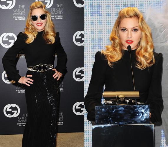 Madonna díjat adott át a rendezvényen, stílszerűen egy Gucciban.