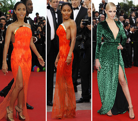 A rikító narancsban pózoló Jada Pinkett Smith és a zöldben Angelina Jolie-t utánzó Anna Falchi remélhetőleg megtanulták a hercegnőtől, hogy a kevesebb néha több.